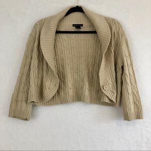 New York & Company Tan Cropped Sweater Cardigan